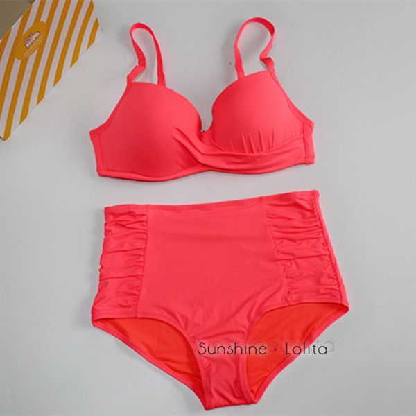 2017 New Sexy Bikinis Women Swimsuit High Waisted Bathing Suits Swim Halter Push Up Bikini Set orange green  Swimwear bikini swim new 2017 european and american high waisted bikini fission sexy women swimsuit bikini