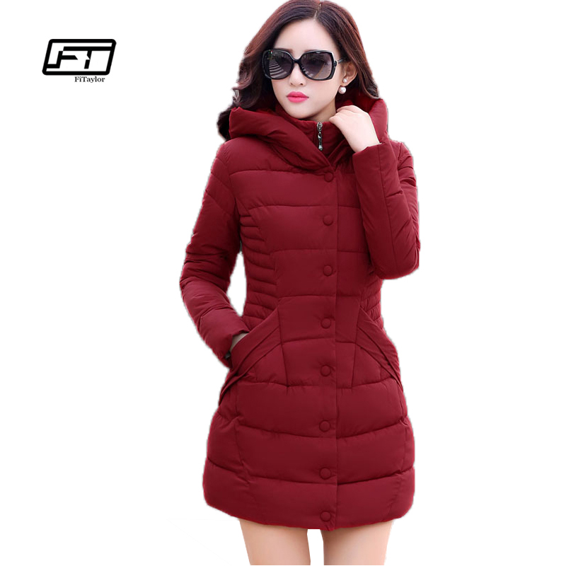 Fitaylor New Winter Hooded Jacket Women Cotton Wadded Overcoat Medium Long Slim Casual   Parkas   Plus Size Xxxl Wine Red Coats