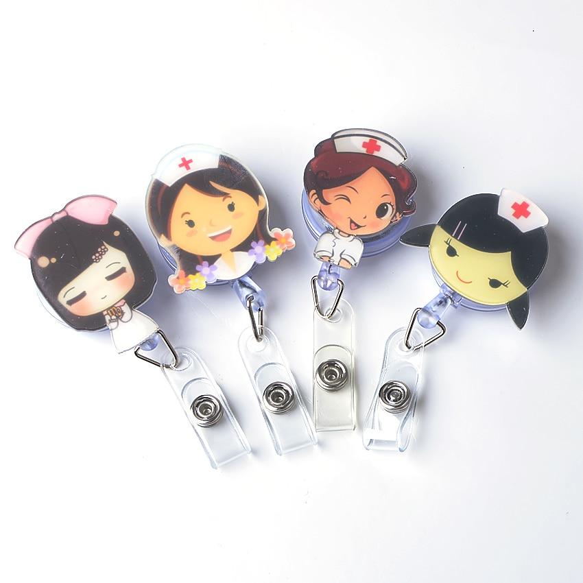 1Pc Cute Cartoon Minni  Retractable Badge Reel Student Nurse Exihibiton Pull Key ID Name Card lanyards Badge Holder Clip стоимость