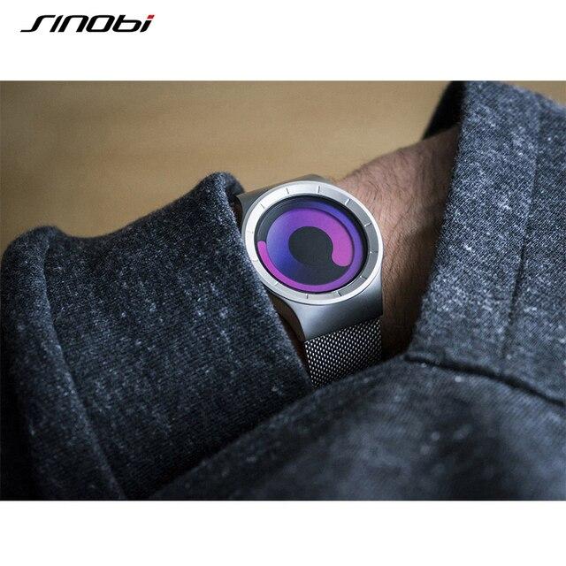 SINOBI Mens Watches Top Brand Luxury 2017 Stainless Steel Mesh Strap Quartz Watch Men Fashion Aurora Style Relogio Masculino