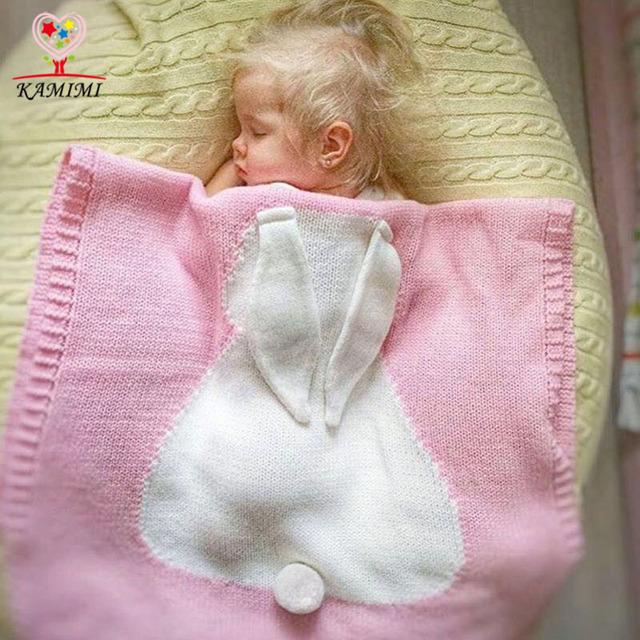 Bebé Conejo de punto Infantil de bebé de Algodón Swaddle Manta Recién Nacido KAMIMI Toallas ropa de cama de los niños saco de dormir Del Bebé manta 73*105 cm