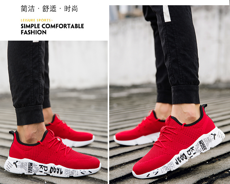 Explosion promotion in 2019, low price one day snapped up,Sneakers Men Trendy Shoes Male breathable red 44 8
