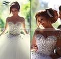 100% Реальные Фото Кристалл Свадебные Платья Мусульманские Арабские Свадебные Платья 2017 Длинные Рукава vestidos де noiva 2015 (SLW-082)
