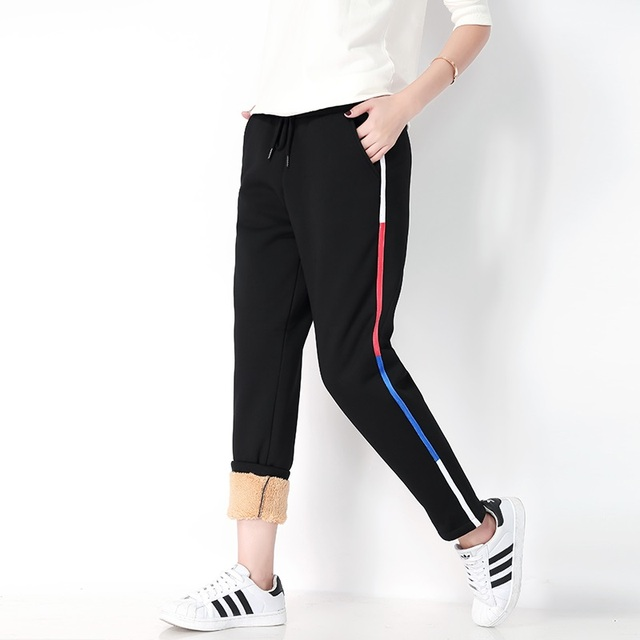 Winter Women Fleece Pants Sweatpants Women's Casual Stretch Feet Thick Velvet Warm 5XL Pants Trousers Sportswear For Female 0918 5
