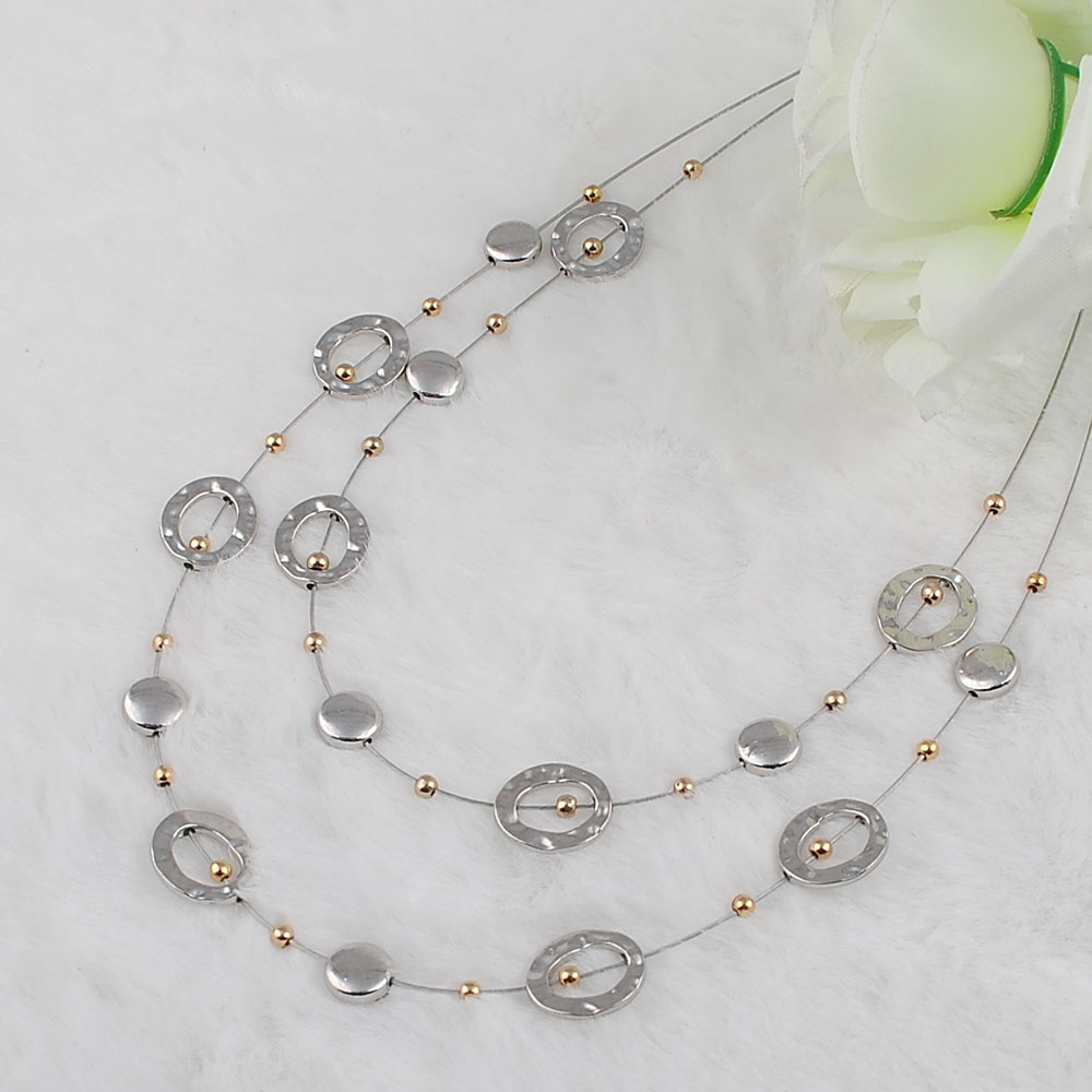 silver two layer necklace