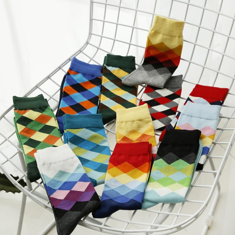 New Colorful Men Cotton Happy Socks Argyle British Style Business Dress Crew Long Sox Diamond Harajuku Retro Brand Chaussettes