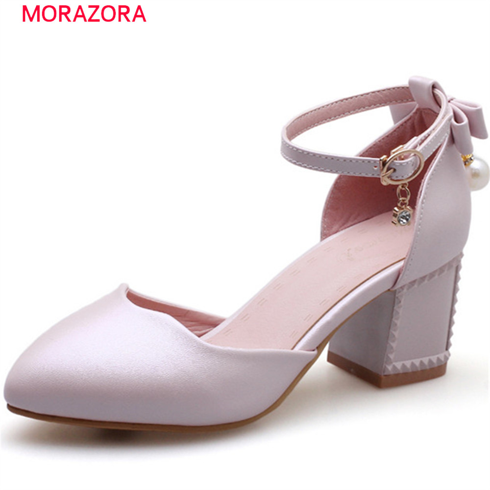 MORAZORA 2018 summer spring square heels pumps women shoes with crystal buckle high heel round toe sweet ladies shoes siketu 2017 free shipping spring and autumn women shoes sex high heels shoes wedding shoes pumps g135 word buckle summer sandals
