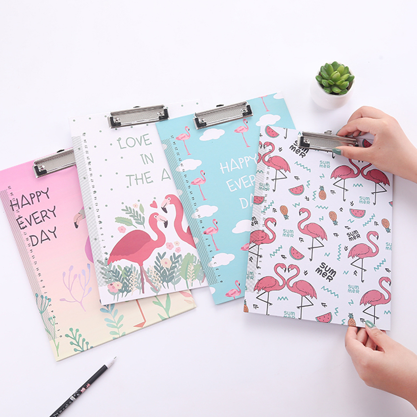 Novelty A4 Cartoon Clipboard File Holder Students Stationery Cute Flamingo Totoro Writing Pad Office Supplies WordPad