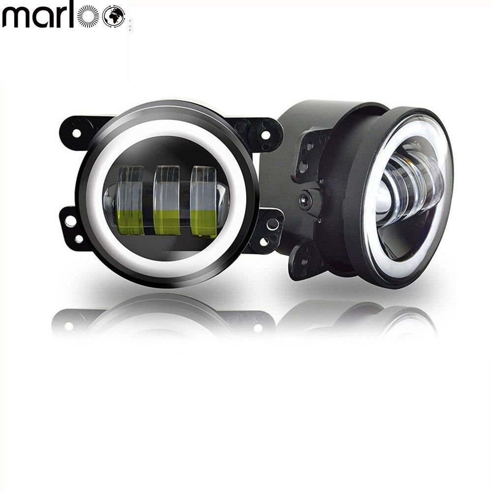 Marloo 2pcs DOT White Halo 4 Inch Led Fog Lights For Dodge Magnum For Jeep Grand Cherokees,Wrangler JK Front Bumper Led Lamp