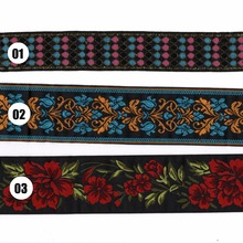 "ZERZEEMOOY 2"" 5cm 10yard/lot High quality Woven Jacquard Ribbon black background blue red flowers pattern MZZD20170328"