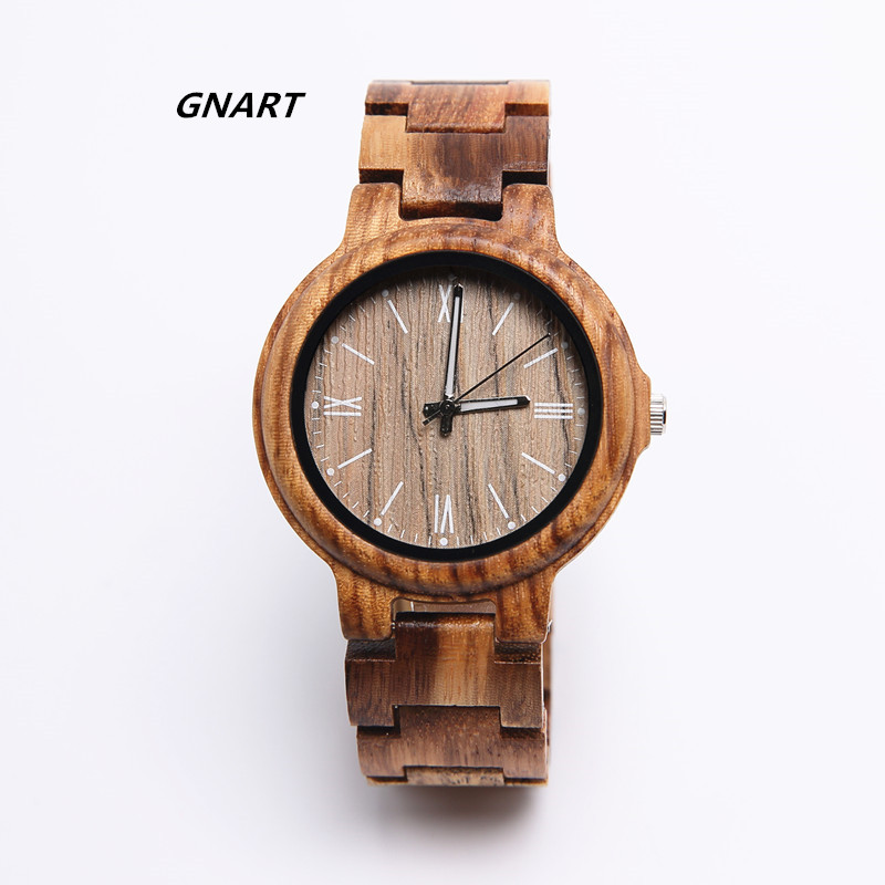 GNART 439 Zebra Wood Dress Wrist Watch Men high quality Quartz Mens Fashionable Handmade Wood Watch Wholesale Direct Sales