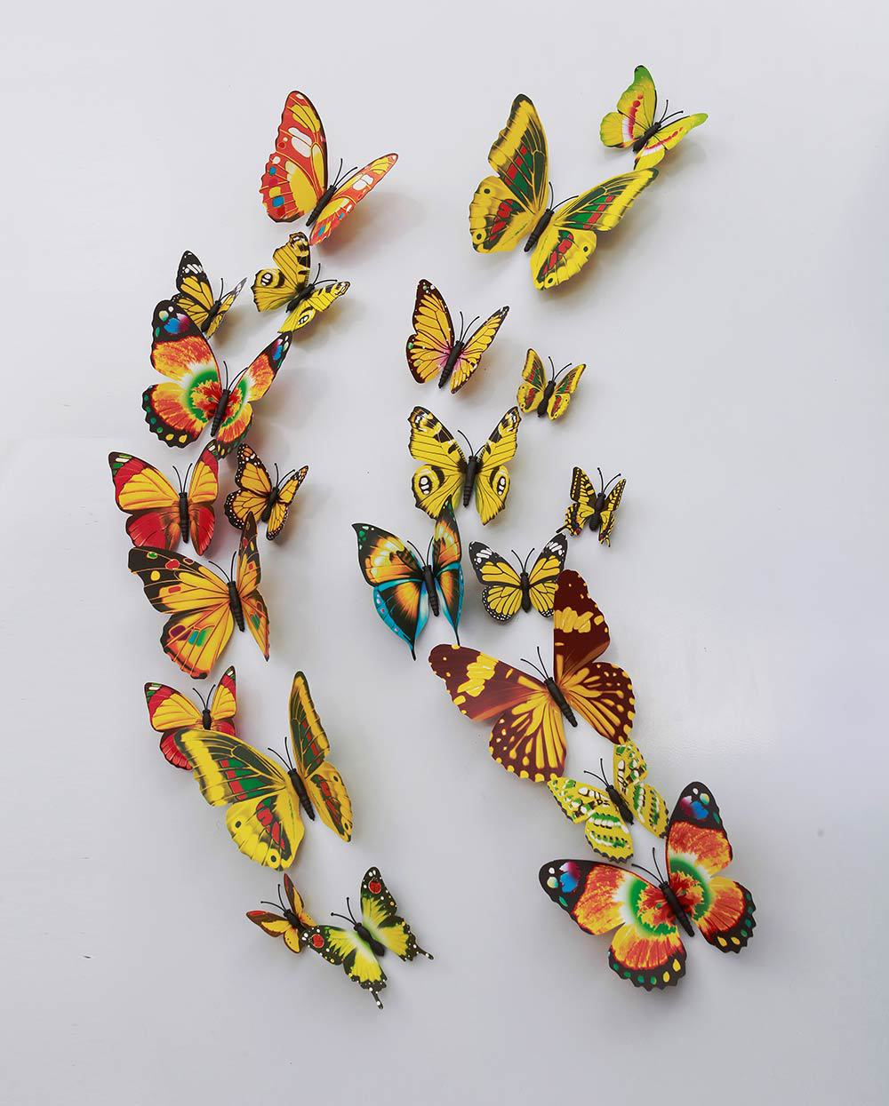 % 12 Pcs/Lot PVC Butterfly Decals 3D Wall Stickers Home Decor Poster Kids Rooms Adhesive to Wall Decoration Adesivo De Parede