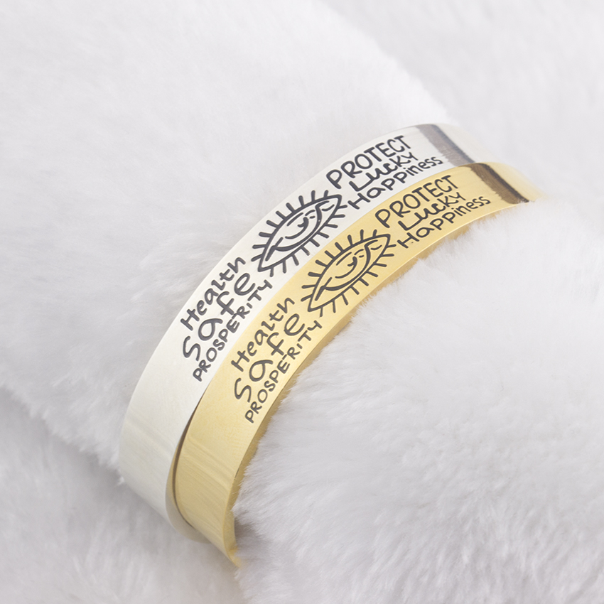 GORGEOUS TALE Stainless Steel Lettering Bangle For Women Men Jewelry Fashion Happiness Evil Eye Gold Color Pulseiras Masculina