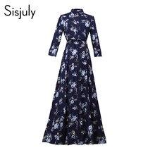 0f8592ba32 Printemps Femmes D'été Plus La Taille Lâche Maxi Robes Bleu Foncé Robe  Vintage Floral Office Lady Travail Arabe Extra Long Robe .
