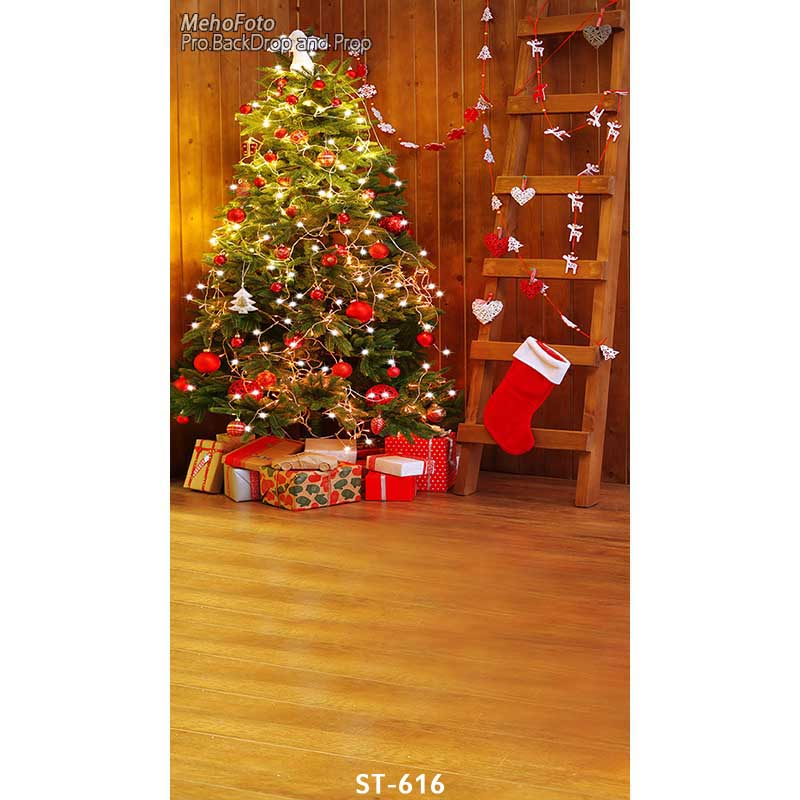 Christmas background vinyl photography backdrops Computer Printed christmas tree for Photo studio ST-616