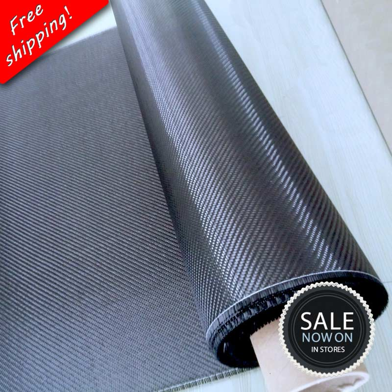 "Gratis forsendelse [Grade A +] 100% Real Carbon Fiber Cloth 32 ""/ 82cm Bredde 3K 5.9oz / 200gsm 2x2 Twill Carbon Fabric [SHIP BY ROLL UP]"