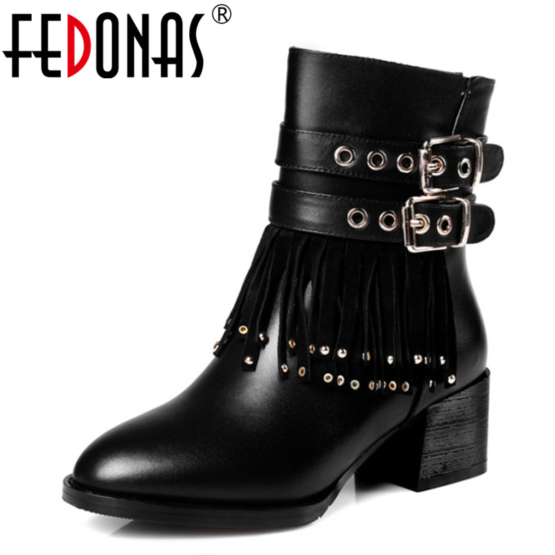 FEDONAS New Women Genuine Leather Ankle Winter Snow Boots Fashion Tassels High Heel Gothic Punk Golden Decoration Shoes Woman fedonas top quality winter ankle boots women platform high heels genuine leather shoes woman warm plush snow motorcycle boots