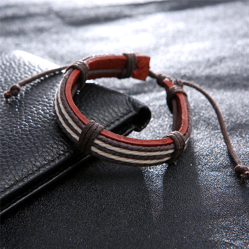 JETTING 1Pc Male Fashion Mens Bracelets Five Wax Ropes Handmade Leather Brown Color Bracelet