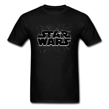 Logo gwiezdnych wojen w hiperprzestrzeni 2018 męskie litery T Shirt niestandardowe moda szkolna czarny T-shirt mężczyźni bawełniane grupy najlepsze ubrania
