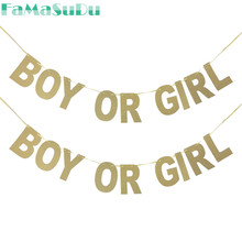 1 set  BOY OR GIRL Banners decoration/Gender Reveal party Glitter Paper Festive & Birthday Party Supplies Bunting Decorations