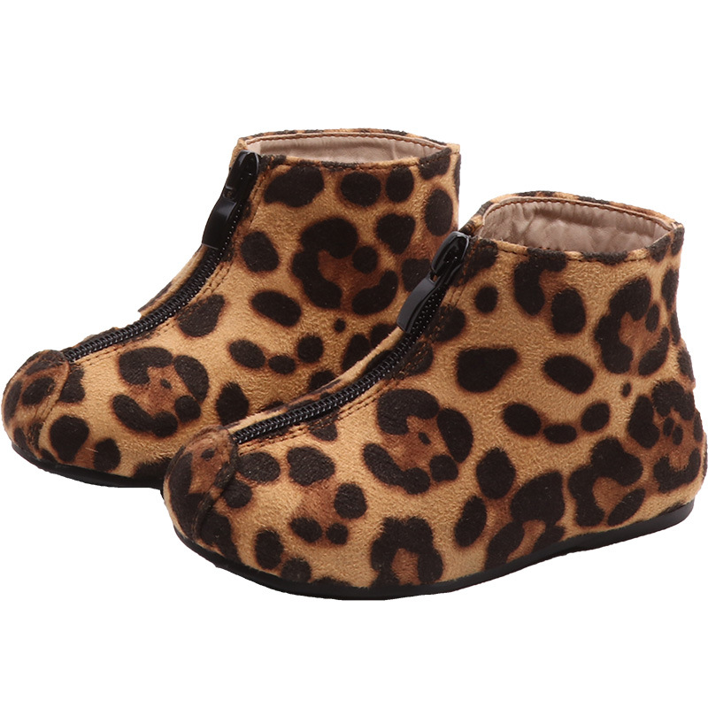 New Arrival Childrens Leopard Boots 2018 Autumn and Winter Girls Kids Ankle Flat Shoes