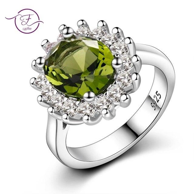 Flor Anéis De Prata Com Pedras Naturais Peridoto Brilhante Jóias Anéis De Noivado Para As Mulheres 925 Anel de Casamento de Luxo À Venda