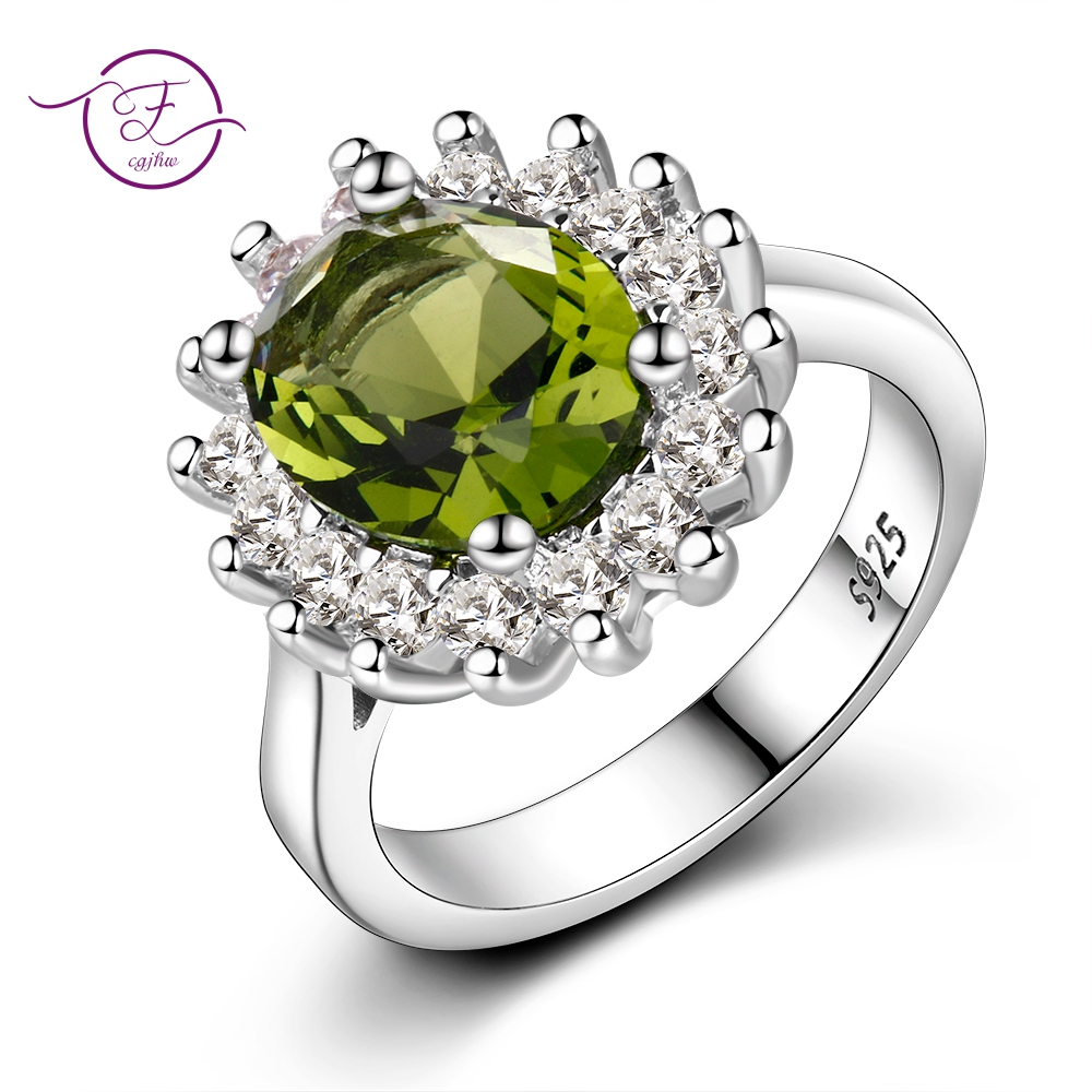 Flower Silver Rings With Peridot Stones Shining Luxury Wedding Jewelry Rings Engagement For Women 925 Ring On Sale
