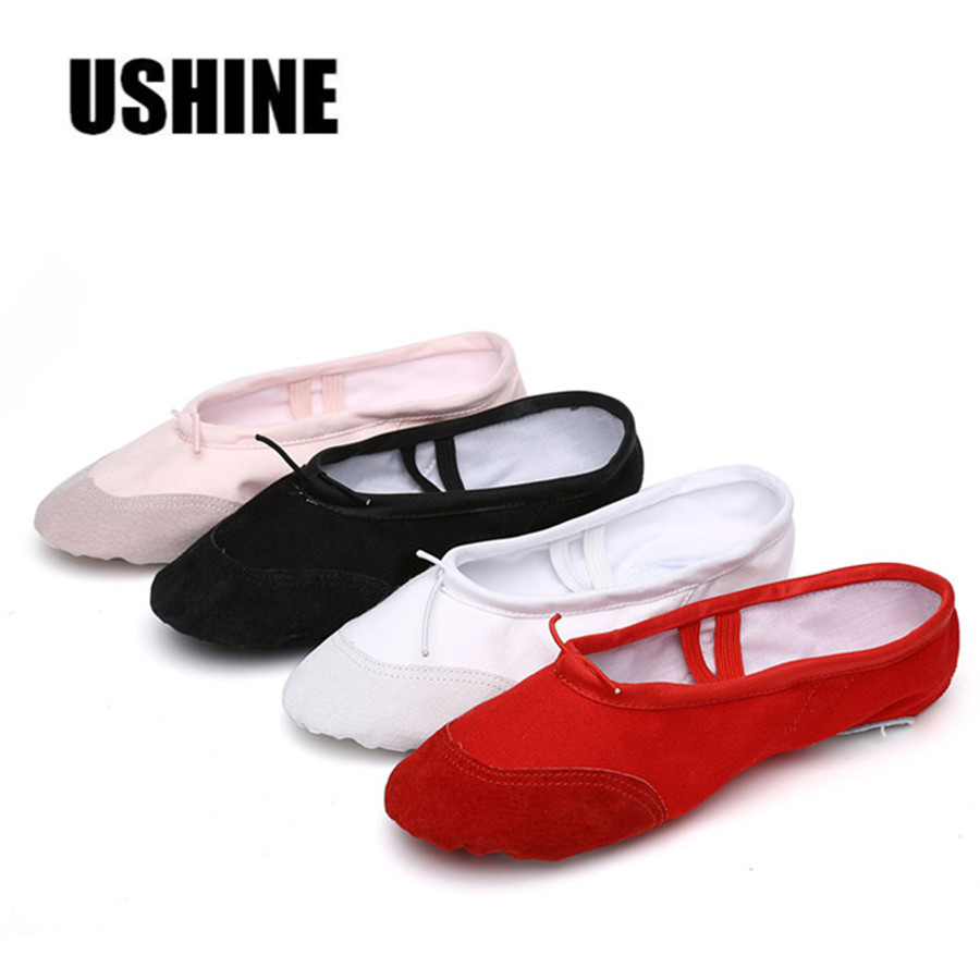 USHINE Soft Black Red White Pink Flat Teacher Ballet Shoes Kids For Girls Women Ballet Shoes Children Canvas
