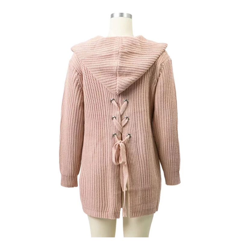 Fashion Women New Sexy Spring Autumn Back Lace Up Pocket Knitted Cardigans Long Hooded Sweater Tops Casual Split Jumper Sweate
