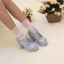 Transparent Ankle Floral Ruffle Vintage Ladies Net High Boot Women Heap Socks Lace Mesh(China)