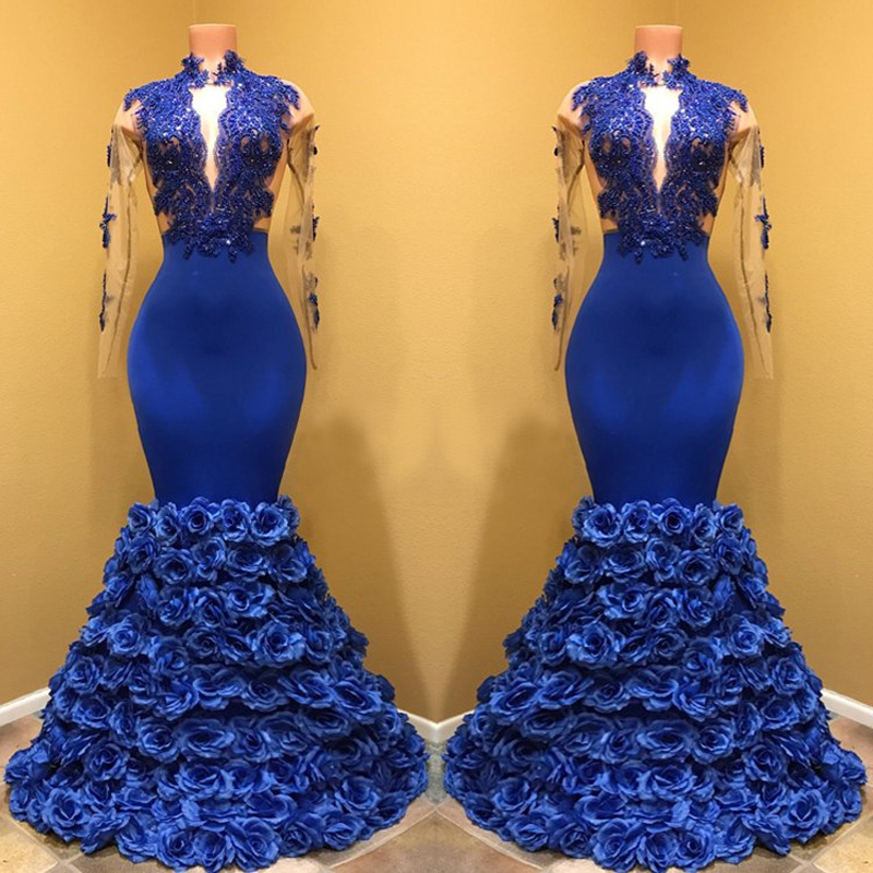 Gorgeous Royal Blue Mermaid Satin Prom Gowns High Neck Long Sleeve Flowers Ruffles Floor Length Formal