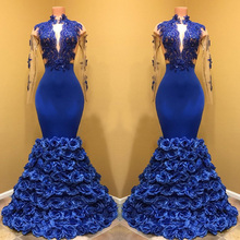 Gorgeous Royal Blue Mermaid Satin Prom Gown – High Neck Long Sleeve Flowers Ruffles Floor-Length Custom Made
