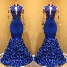 Gorgeous Royal Blue Mermaid Satin Prom Gown – High Neck Long Sleeve Flowers Ruffles Floor-Length Custom Made