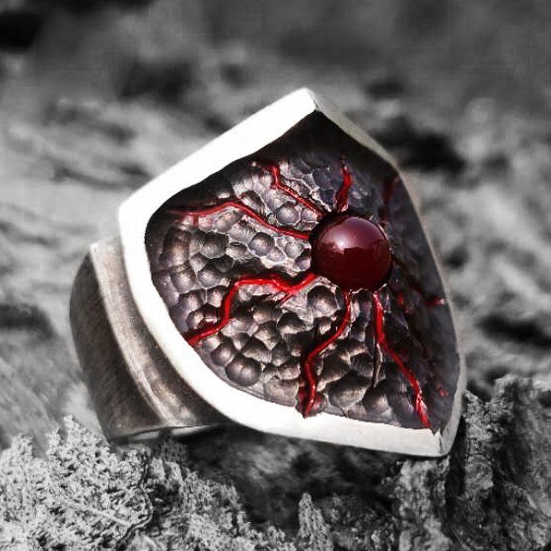 Handmade Shield Ring 925 Silver Ring for Women Men Personality Birthday Gift Jewelry 2019