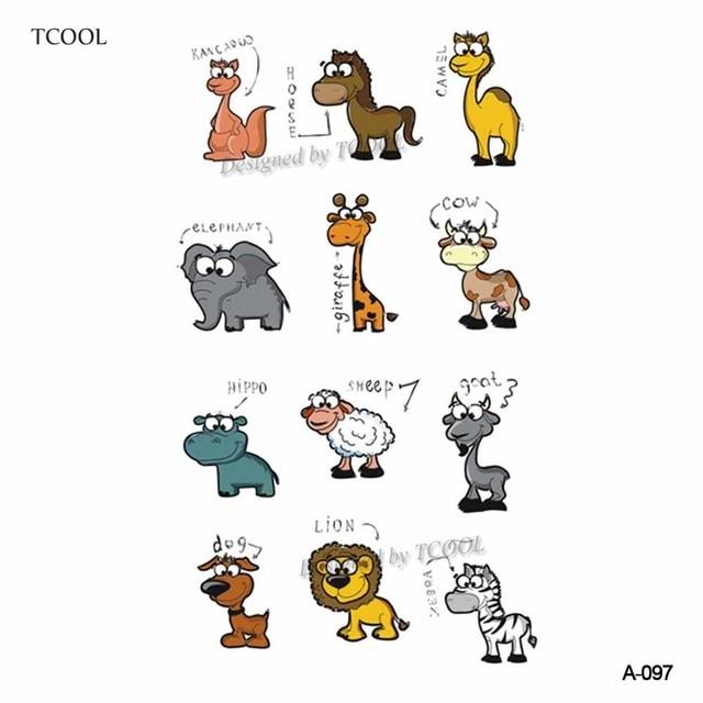 HXMAN Cartoon Animals Children Temporary Tattoo Sticker Waterproof Fashion Fake Body Art Tattoos 9.8X6cm Kids Face Tatoo B-030 1