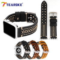 TEAROKE Matte Leather Sewing Watchband For Apple Watch 38mm 42mm Design Cross Line Women Men Replacement