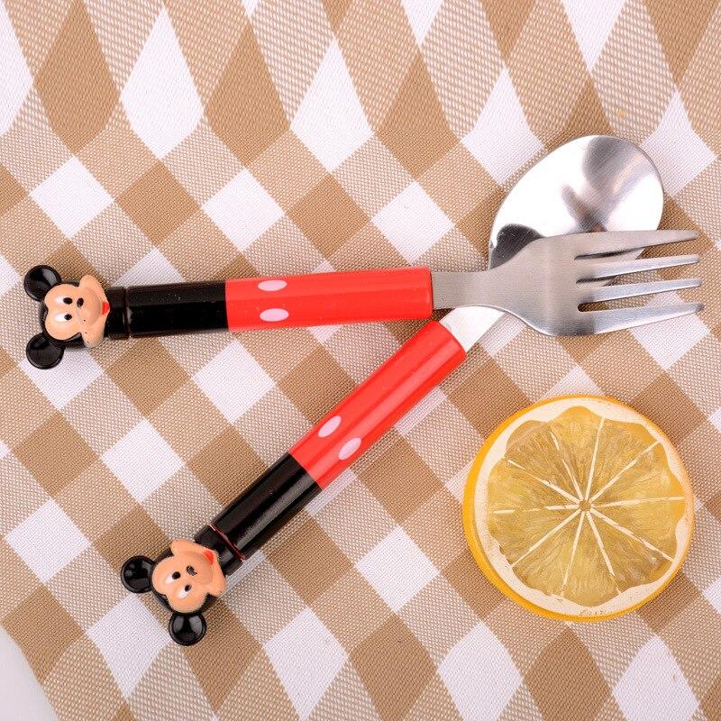 2pcs/set Cartoon Mickey Dinnerware Set Tea Coffee Teaspoons Soup Dishes and Plates Sets Dinnerware Set Bone China 3DCJS12