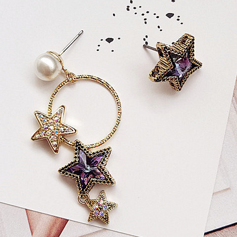 2017 Korean Style Rhinestone Star Vintage Long Earrings For Women Brincos Girl 39 S Fashion Boucle