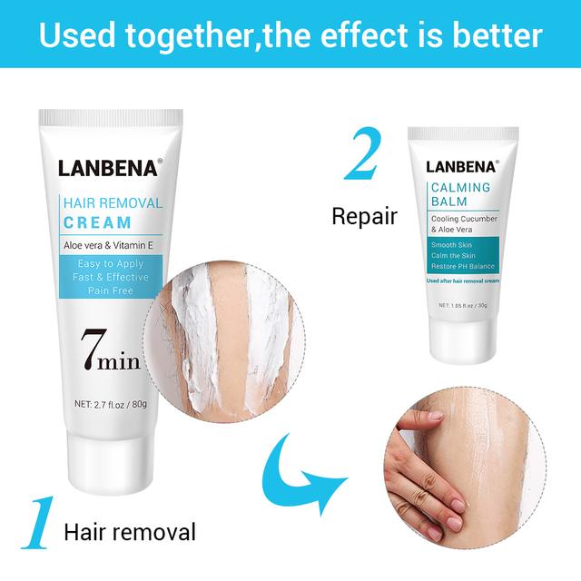 LANBENA Hair Removal Cream  Removal Depilation Gentle Not Stimulating Repairing Painless Epilator Nourishing Effective Body Care
