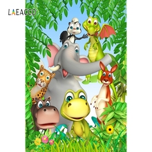 Laeacco Cartoon Animals Green Tree Backdrop Baby Photography Backgrounds Customized Photographic Backdrops For Photo Studio