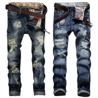 2017 New Hole Straight Destroyed Jeans Brand Casual Slim Ripped Jeans Homme Retro Men S Trousers