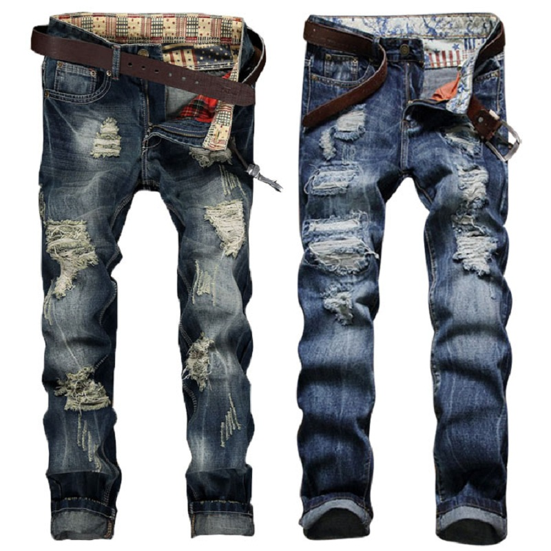 2017 New Hole Straight Destroyed Jeans Brand Casual Slim Ripped Jeans Homme Retro Men's Trousers Denim High Quality Cotton Pants сухой корм hill s prescription diet j d joint care with chicken с курицей диета при лечении заболеваний суставов для собак 12кг 9183