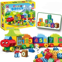 50pcs Large Particles Numbers Train Building Blocks Educational Toy Bricks Children City Toys Compatible Duploe Sets