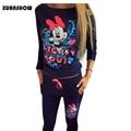 2017 Hot Venda Casual sportswear Impresso Com Capuz longo-sleeved Terno Sportwear Tenue Femme