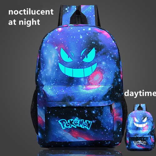 2016 pokemon go bag noctilucent Starry Sky backpack daily bag Cartoon pocket monster School backpacks accept drop shipping