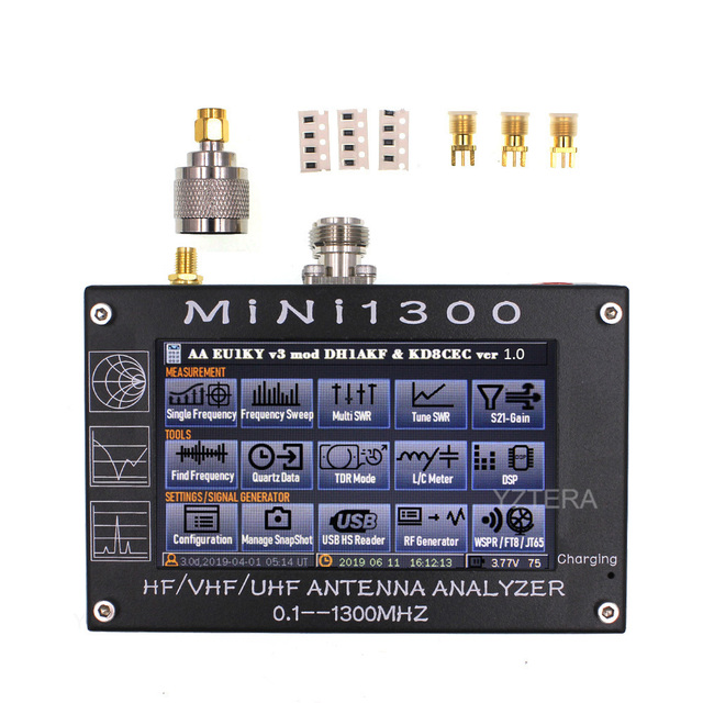 """MINI1300 5V/1.5A HF VHF UHF Antenna Analyzer 0.1 1300MHZ Frequency Counter SWR Meter 0.1 1999 with 4.3"""" TFT LCD Touch Screen"""