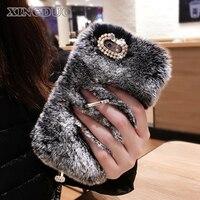 XINGDUO 3D חם שיער של ארנב רך פלאפי ארנב פרווה עם רצועה Bracket כיסוי case עבור iphone X/8/8 Plus/7/7 Plus/6/6 Plus/5