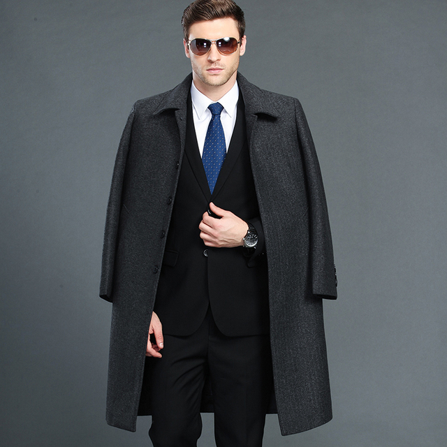 Mu Yuan Yang Men Winter Jacket Wool British Style Longer Section Woolen Men Jackets Outerwear Warm Single Breasted Wool & Blends
