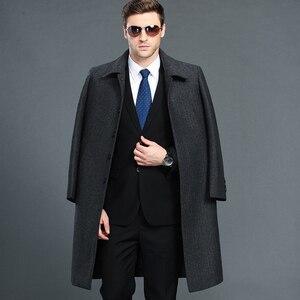 Image 3 - Mu Yuan Yang hommes veste dhiver laine Style britannique plus longue Section laine hommes veste matelassée chaud simple boutonnage laine et mélanges