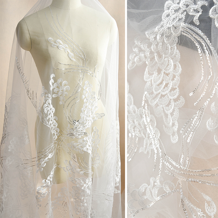 Wedding Dress Fabric: White Peacock Feathers Sequins Embroidery Lace Fabric